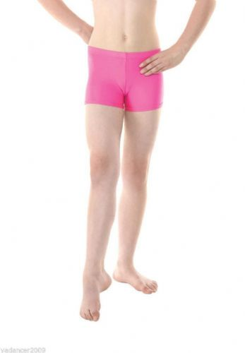 Micro Hipster Shorts Hot Pants Shiny Nylon/Lycra Gymnastics Dance Freestyle Pink